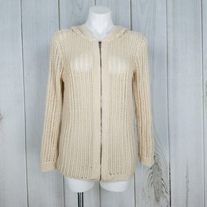 Forever 21 | Light Tan Knit Zip Up Hoodie Sweater